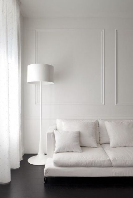 minimalist and monochrome interior won't be boring if you add molding to the walls
