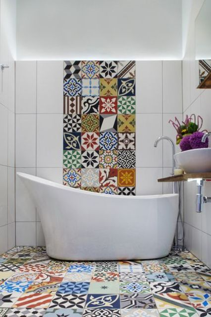 tiles needn't be boring, make a colorful mismatching mosaics