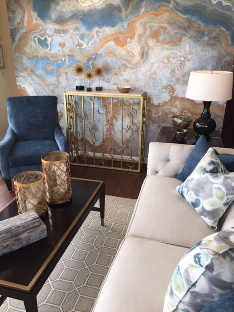 accent your living room with a gorgeous agate wallpaper wall that fits the color scheme