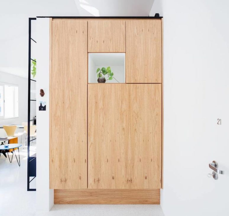 Even though the apartment is small there was space for a big pantry cabinet with an open cubby