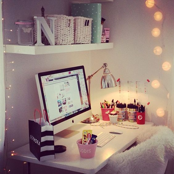 add more light to your working corner with string lights on both sides