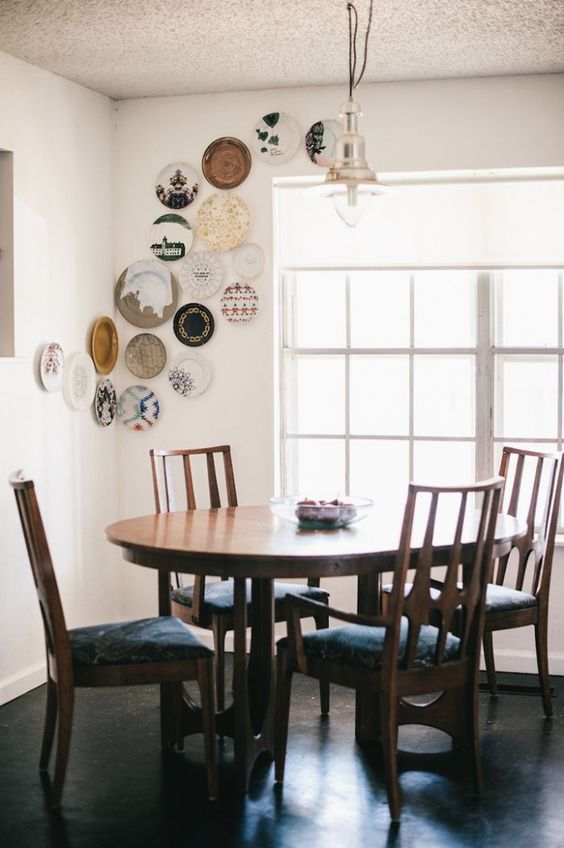 if you collect plates, why not accent your dining space with them