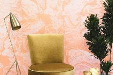 08 pink agate wallpaper and brass items make this nook very glam