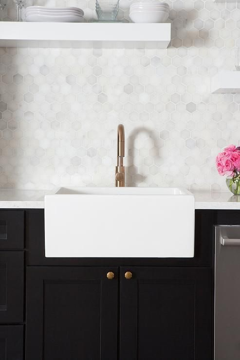 tiny hexagon marble tiles add to the simple famrhouse look