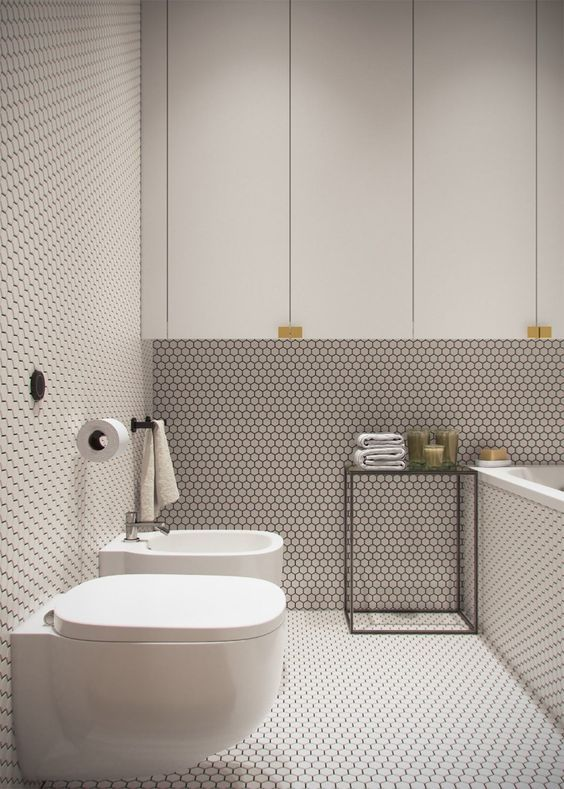 try trendy options like penny tiles to get an edgy look
