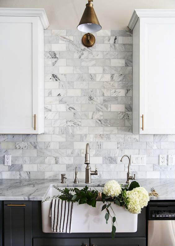subway grey marble tiles for sprucing up a white and grey kitchen