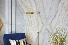 10 delicate blue and gold geode wallpaper perfectly matches the furniture and lamp