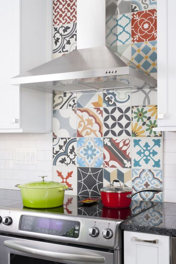 if you like bold colors, why not create a bold backsplash of colorful and patterned tiles
