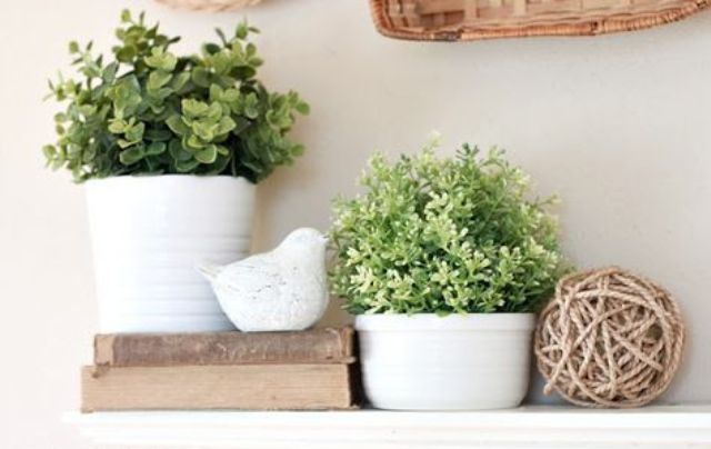 potted greenery in white planters is all that you need for a fresh spring mantel