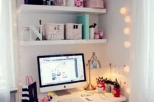 13 cheer up your tiny workspace with string lights on both sides to make it cozy