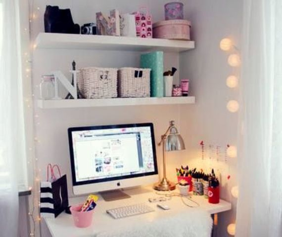 cheer up your tiny workspace with string lights on both sides to make it cozy