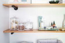 13 open shelves are a nice idea to the bathroom