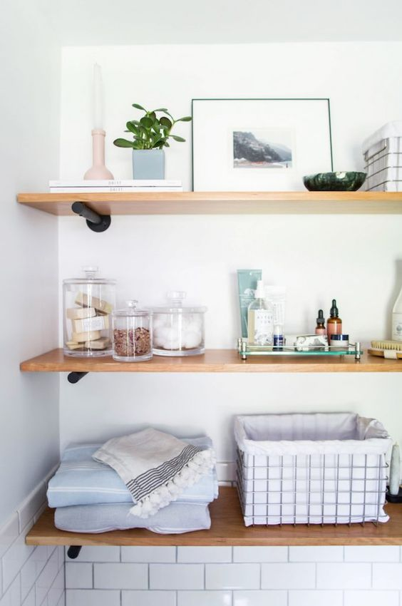 open shelves are a nice idea to the bathroom