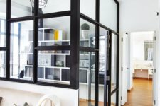 14 a home office with framed and glazed walls gets much light inside and looks cool