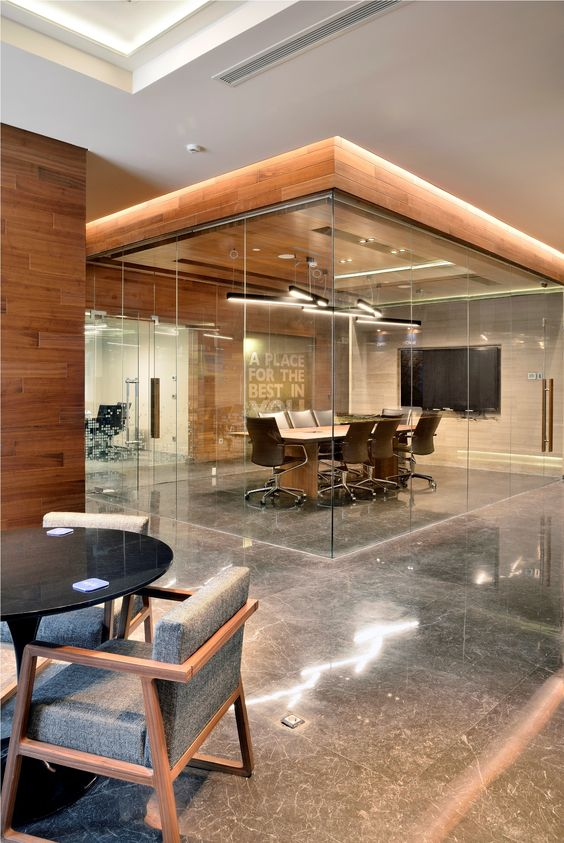 if your home is combined with an office, you can make a glass walled office to highlight it