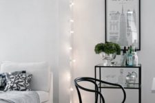 15 separate the living space form the rest of the room hanging string lights