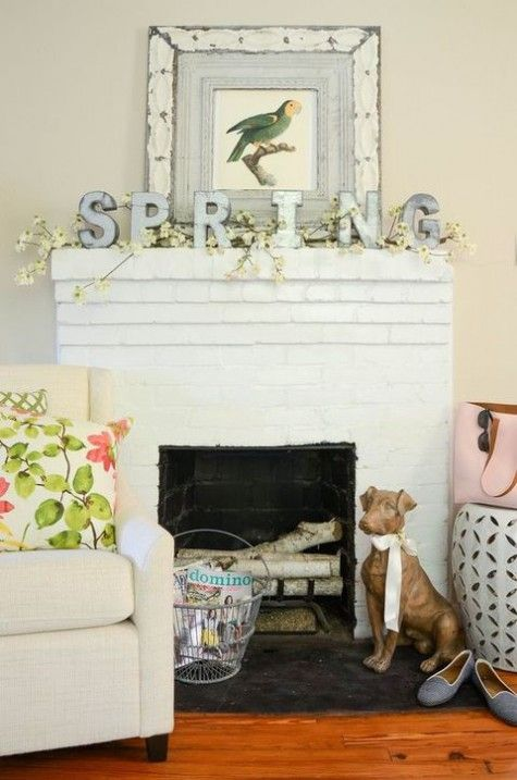SPRING metal letters and faux blooming branches for a cute fresh feel and a long lasting look