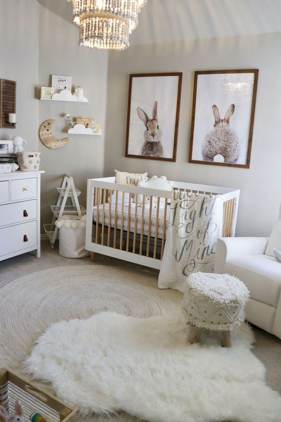 bunny-inspired gender neutral nursery with fluffy touches and cool rugs