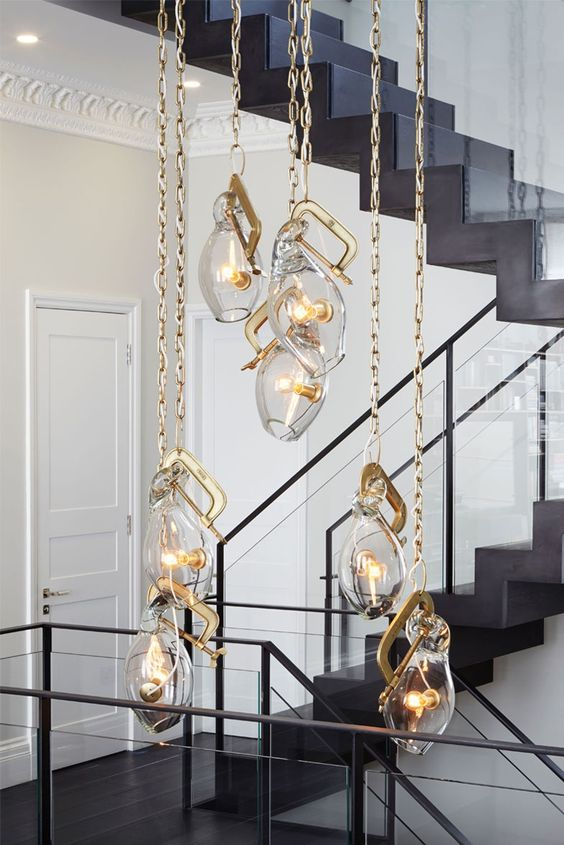 highlight the tall ceilings with such unique pendant lamps on chains