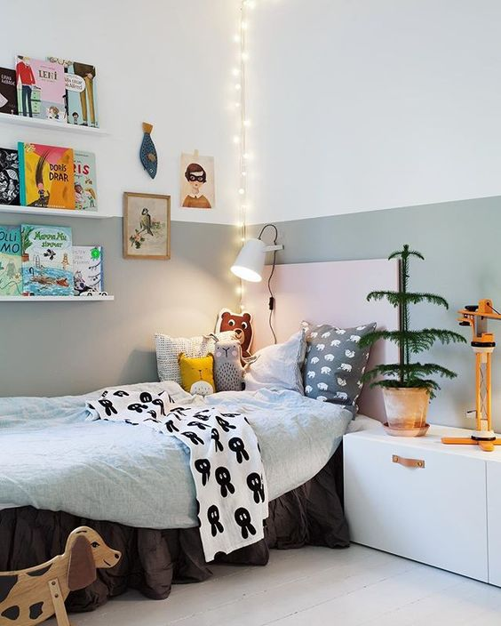 some string lights hanging over the bed will cheer up this nook