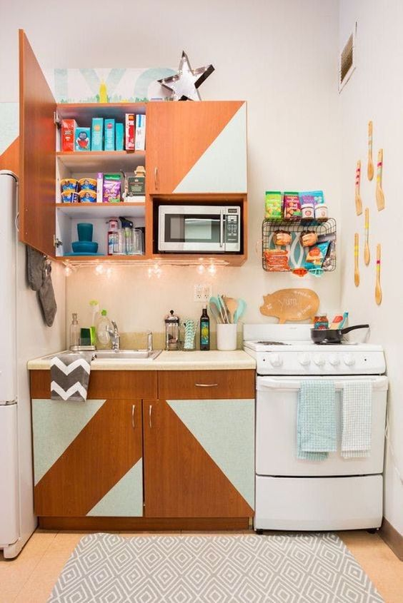 hang string lights to the cabinets as additional lights - no lamps are needed here