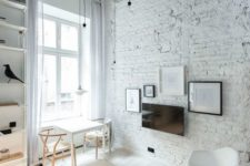 17 spruce up your space with exposed brick walls, a rough ceiling and minimalist lamps