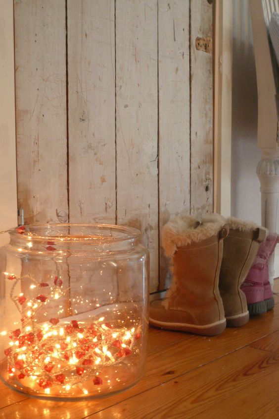 a large jar with lights inside is a cute way to add light and make the space look more light-filled