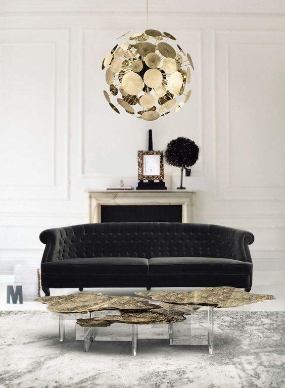 a modern glam space with a fresh and refined take on a classic Chesterfield