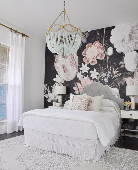 dark realistic floral wallpaper on the headboard wall can be a constant feature as it's timeless