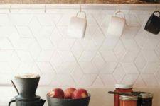 21 eye-catchy geometric tiles on the kitchen backsplash look chic and interesting