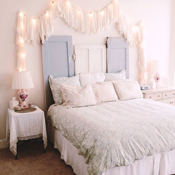 string lights covered with long fringe for a shabby chic bedroom