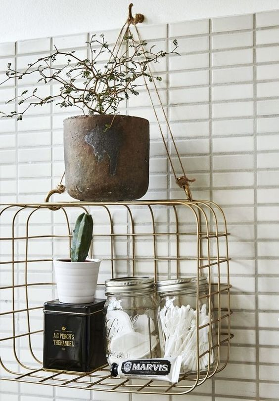 a stylish metal bathroom organizer to hang wherever you want