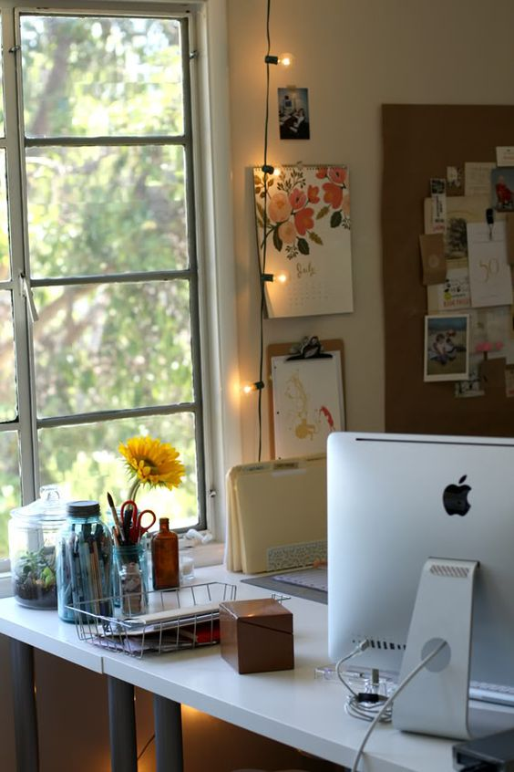 bring more light to your working space with string lights hanging next to it