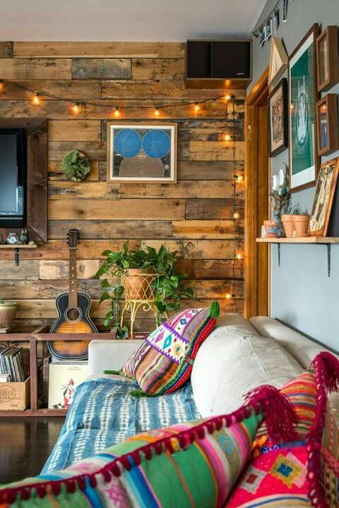 enliven a reclaimed wooden wall with string lights