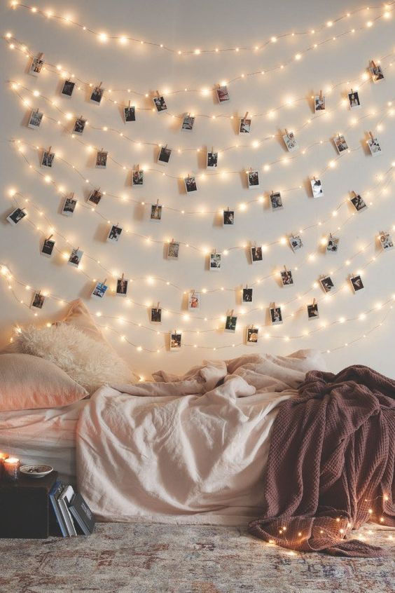 string lights with Polaroids are only lights, they are also a nice idea of decor