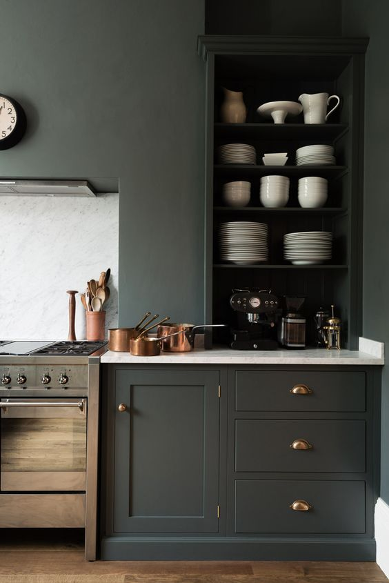 graphite grey walls and absolutely matching cabinets with white marble countertops