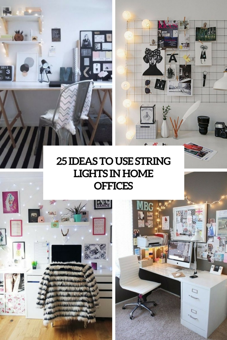 25 Ideas To Use String Lights In Home Offices - DigsDigs
