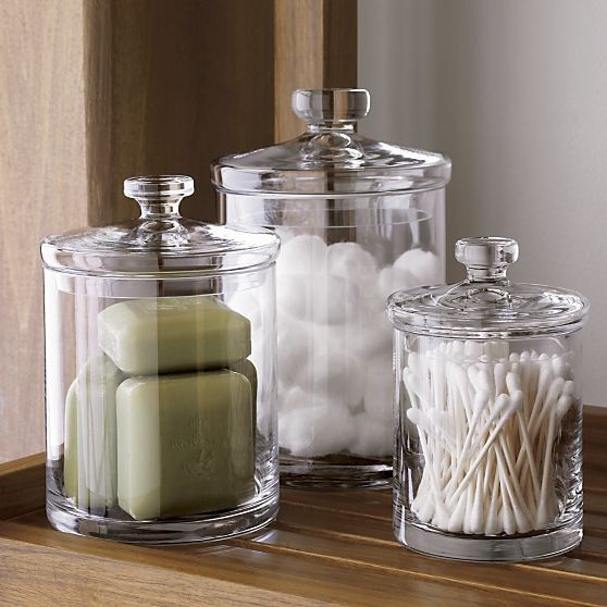 organize your stuff in stylish glass jars with lids - there's nothing simpler, and this is a classic option