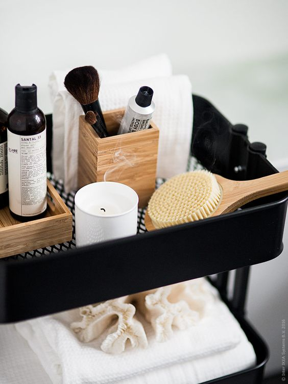 an IKEA Raskog kitchen cart can be updated to fit your bathroom as an organizer