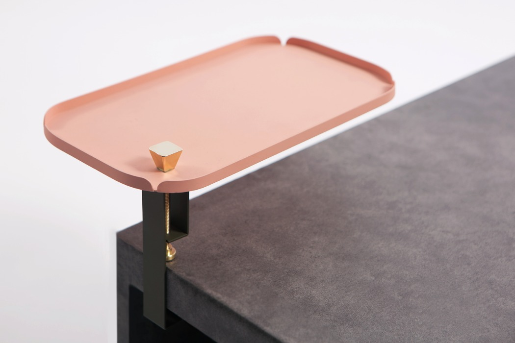 Secondary Area is a contemporary additional storage shelf done in black, salmon pink and some gold touches