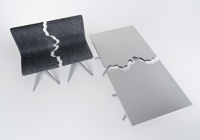 This gorgeous furniture collection is made of recycled materials and is called Fractured due to the design