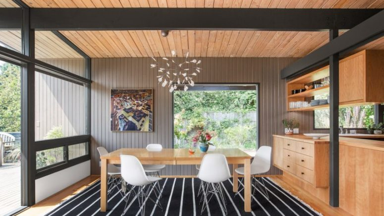 This mid century modern home was originally built in 1950s, and then renovated to perfectly fit the family needs
