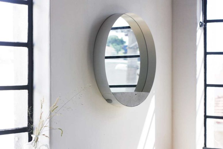 Sleek And Harmonious Loop Mirror Of Concrete