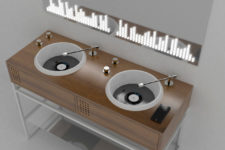 01 Vinyl bathroom collection was created for those who love clubs and vinyl and want something eye-catching for the bathroom