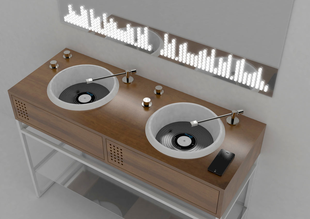 Vinyl bathroom collection was created for those who love clubs and vinyl and want something eye catching for the bathroom