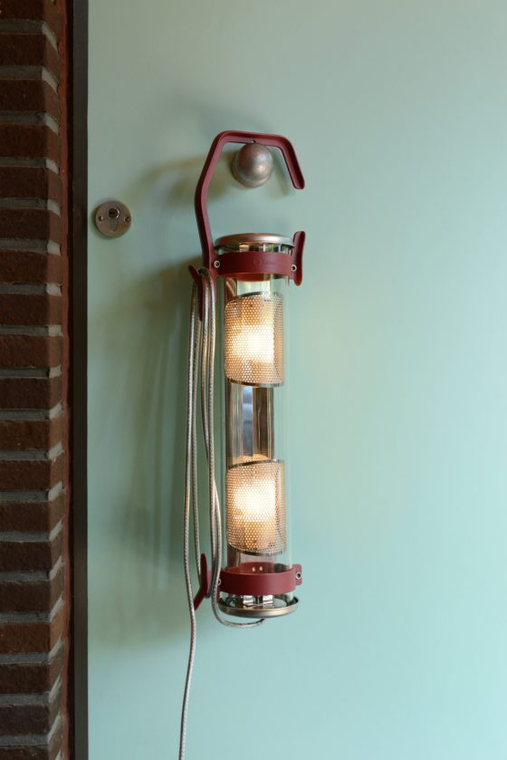 Balke hook lamp can be hung on a door knob, tree or some piece of furniture