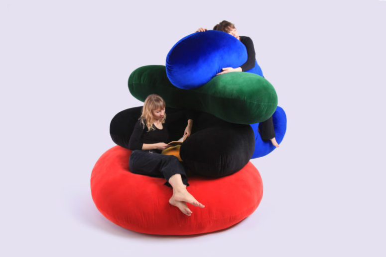 The furniture consists of five colorful elements that can be arranged in various ways that you want