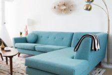 living room with a large sectional sofa