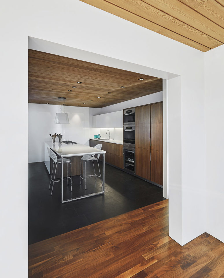 The kitchen is done with dark plywood and white sleek surfaces to make it contrasting and bold