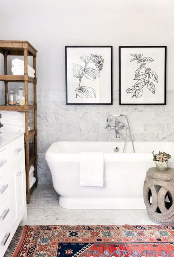 a couple of botanical artworks to fit a country chic bathroom